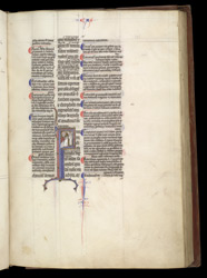 Historiated Initial With Zacharias And The Angel, In A Glossed Gospels